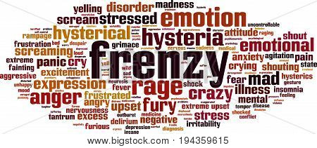 Frenzy word cloud concept. Vector illustration on white