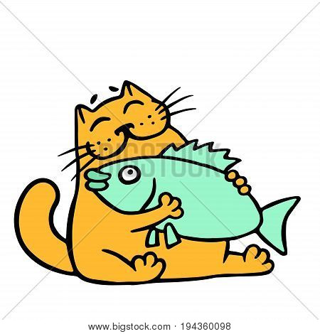 Cute orange cat hugging big fish. Funny cartoon cool character. Cheerful pet. Vector illustration.