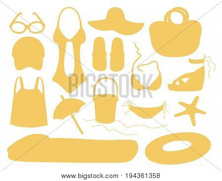 Summer and beach accessories. Summertime lifestyle objects. Vector illustration, EPS 10