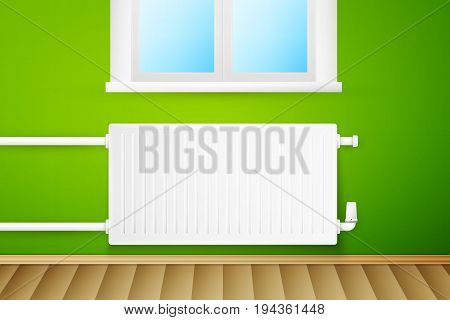 White realistic heating radiator on green wall with window