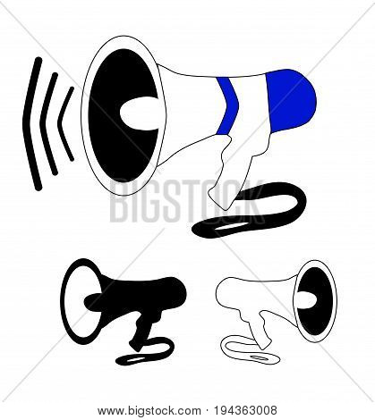 Speakerphone amplifier voice megaphone in color black and white version