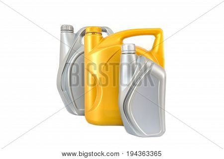 Image of Different plastic oil canisters isolated on white background for engine oil