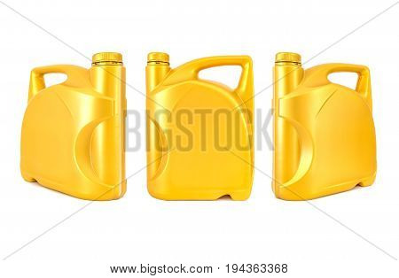 Three plastic canisters with engine oil isolated on white background Closed up