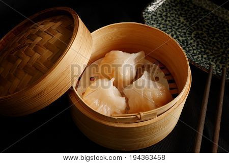 Har Gow, shrimp dumpling,  a traditional Cantonese dumpling served in dim sum