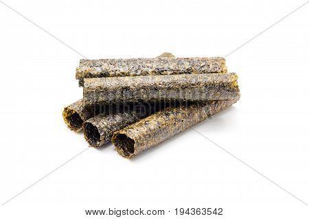 dried seaweed Crispy seaweed isolated on white background.