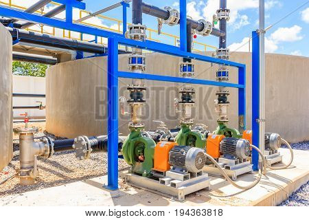 Wastewater treatment plant. A new pumping station. Valves and pipes. Urban modern treatment facilities pipelines and pumps powerful modern automatic system protection and control.