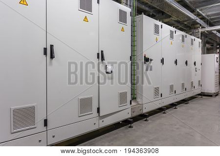 Electrical switchgear Industrial electrical switch panel in Control room of factory