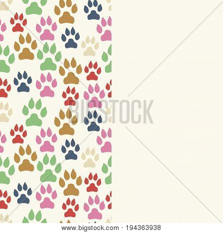 Card with dog track seamless pattern and empty space. Canine footprints. Vector illustration.