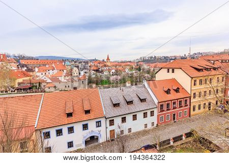 CESKY KRUMLOV, CZECH REPUBLIC - APRIL 15, 2016: Aerial view of old Town of Cesky Krumlov Czech Republic. UNESCO World Heritage Site.