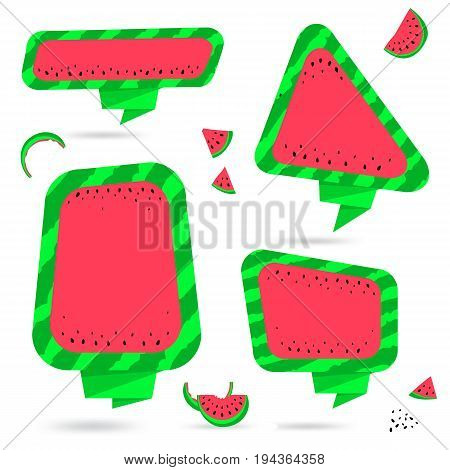 Watermelon Summer Bubble Speech Collection. Fruit Thought Bubble with Watermelon Slices and Seeds