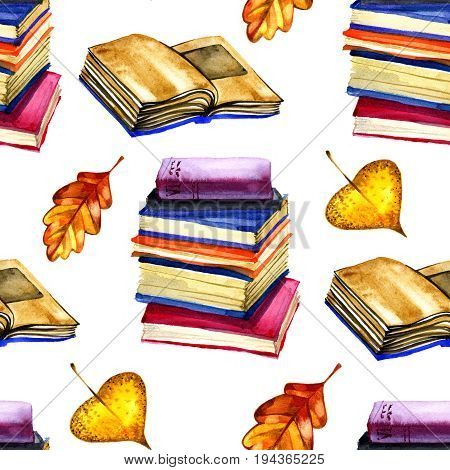 background with autumn leaves and books. Autumn watercolor seamless pattern om white.