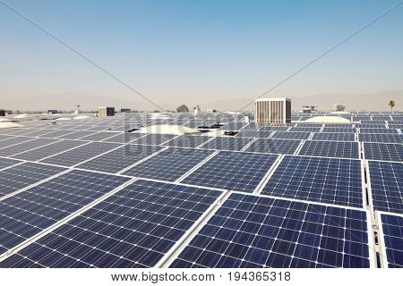 Solar panels at a solar power plant