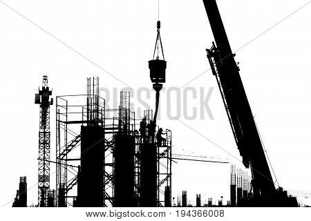 Silhouette of scaffold on a construction pillar at a construction site - early morning sunrise Black and white