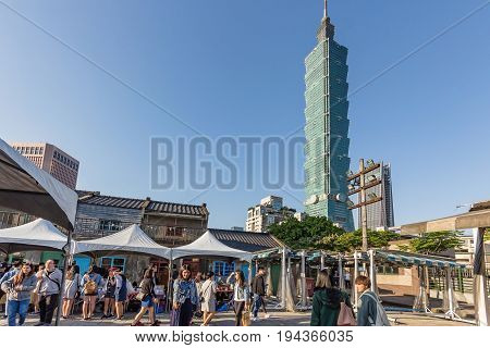 TAIPEI, TAIWAN - APRIL 29, 2017: Taiwan tower at blue sky from view of Taipei Military Village Culture Centre Taipei