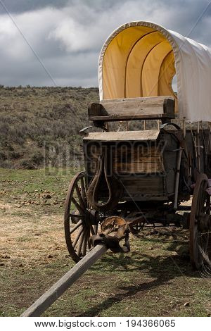 Western covered chuckwagon for cooking food on a trail drive closeup