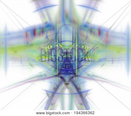 White Abstract Background With Blurred And Sharp Rainbow Texture. Blue Symmetrical Fractal Plane Sha