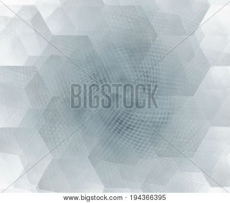 White Abstract Background With Hexagonal Cells Fractal Texture. Grey Honeycombs Structure With Dotte