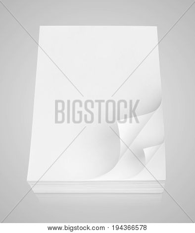 Stack Of White Paper On Gray Background