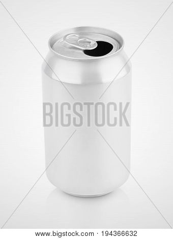 Opened empty 330 ml aluminum soda drink can on gray background with clipping path