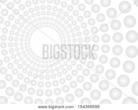 Abstract Vector White Background With Grey Spheres Pattern. Concentric Tunnel With Empty Hole Off-ce