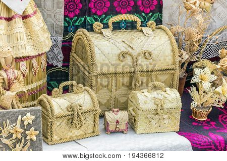 Straw boxes and chest. Culture Of Belarus