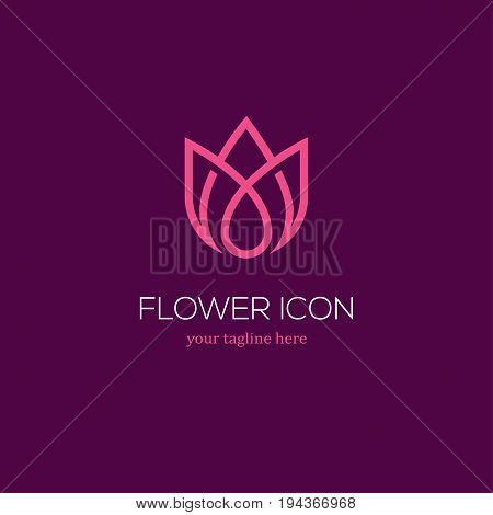 Abstract linear tulip icon. Flower bud symbol. Beauty spa salon cosmetics or boutique logo.