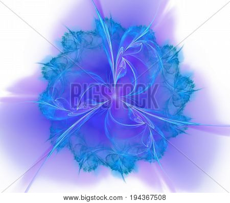 White and blue abstract background with fractal flower texture. Symmetrical floral centered pattern on purple backdrop
