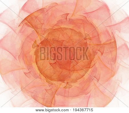 White abstract background with fractal rose texture. Red and orange pleated flower petals centered pattern.