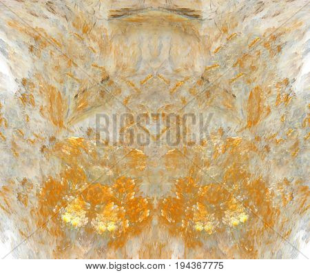 White abstract background with exploding orange fire or flowers texture. Red symmetrical flame shaped fractal pattern centered.