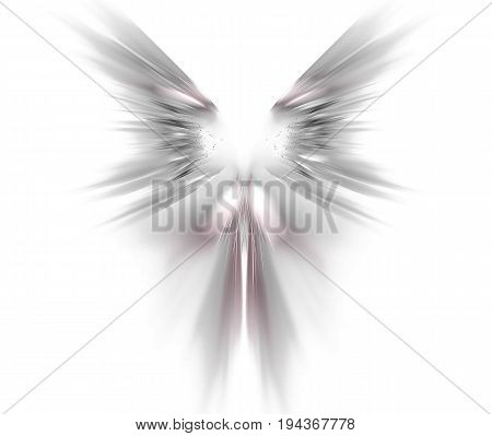 White abstract background with wings texture. Grey symmetrical fractal rays shaped pattern.
