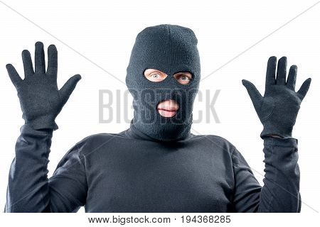 Male Robber Held Up His Hands, In Black Clothes