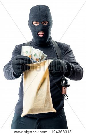 Male Robber In Full Length Is Holding Bag With Money On White Background