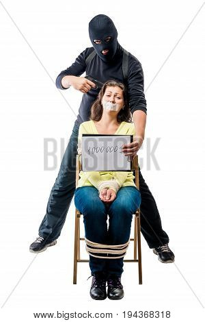 1000000 $ the price for a life of a hostage a conceptual picture on a white background