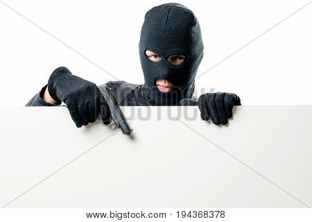 Armed Terrorist Indicates A Poster With A Gun