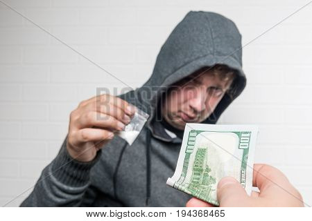 Purchase Drug Dose From A Drug Dealer On The Street, Hand In Close-up
