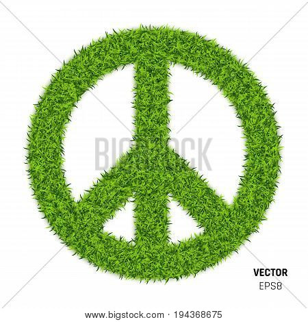Pacific Sign Made of Green Grass. Eco Peace Symbol on White Background. 3d Illustration