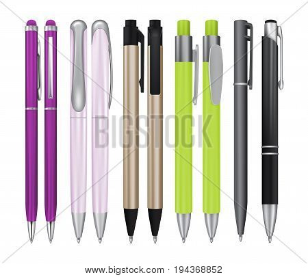 Set of Realistic Ball Pens Isolated on White Background. 3d Ballpoint or Biro Collection for Mockup