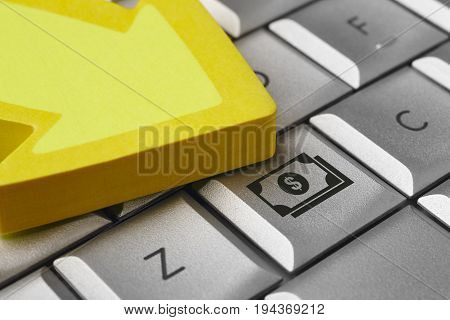 Money icon on a computer keyboard. Finance e-commerce. Horizontal