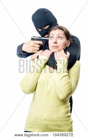 A Hostage In The Hands Of A Dangerous Criminal Who Has Weapons