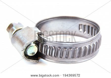 Metal clamp for hose isolated on white background