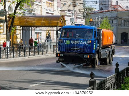 Voronezh, Russia - May 01, 2017: Cleaning of city streets with a washing machine