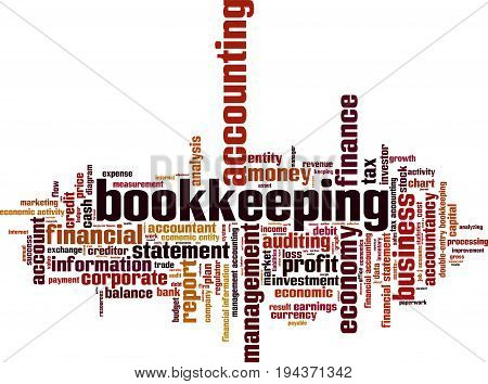 Bookkeeping word cloud concept. Vector illustration on white