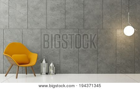 Modern loft living room 3d rendering image There is a polished concrete wall with groove. White floors and finished with yellow fabric armchair.
