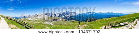 a panorama of a beuatiful mountain landscape