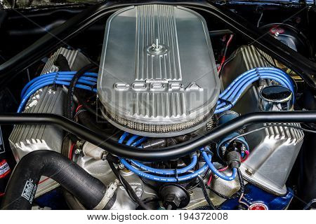 BERLIN - JUNE 17 2017: Engine of the Ford Shelby Mustang GT500 Eleanor. Close-up. Classic Days Berlin 2017.