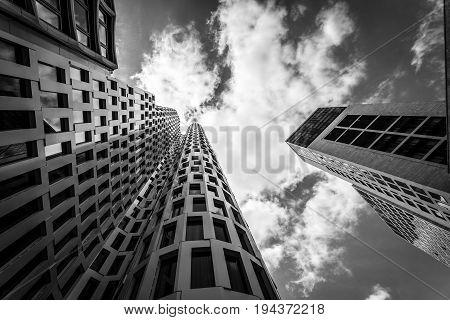 BERLIN - JUNE 17 2017: Upper West (Atlas Tower) and Zoofenster (Waldorf Astoria Hotel by Hilton) - new skyscrapers at tne Breitscheidplatz in West Berlin. Black and white.