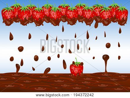 A Frame Of Strawberry Berries In Chocolate And A Spray Of Chocolate On A Blue Background. Splash Of