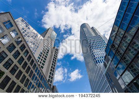 BERLIN - JUNE 17 2017: Upper West (Atlas Tower) and Zoofenster (Waldorf Astoria Hotel by Hilton) - new skyscrapers at tne Breitscheidplatz in West Berlin.