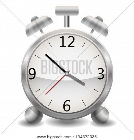 A Metallic Mechanical Realistic Alarm Clock, A Clock Showing Fifteen Three Minutes After Three, Earl