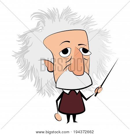 Isolated Einstein character on a white background Vector illustration poster